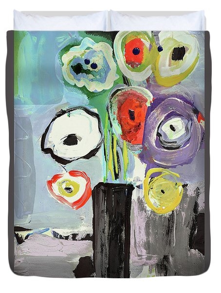 Abstract Vase Of Flowers II Duvet Cover by Amara Dacer