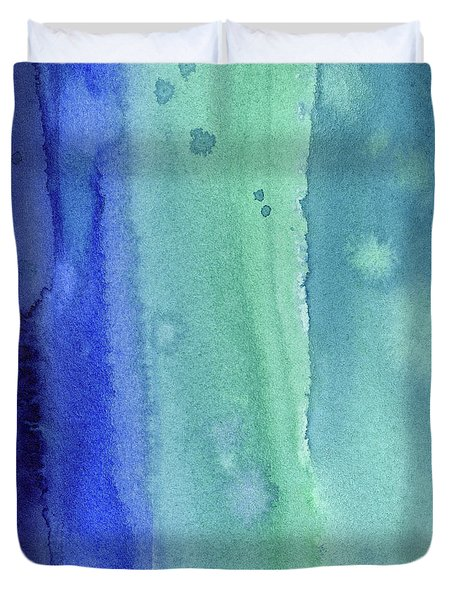 Abstract Vertical Watercolor Aqua Stripes Duvet Cover