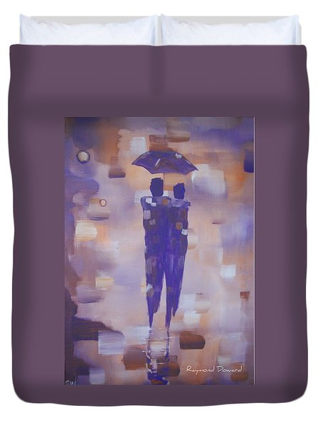 Duvet Cover featuring the painting Abstract Walk In The Rain by Raymond Doward