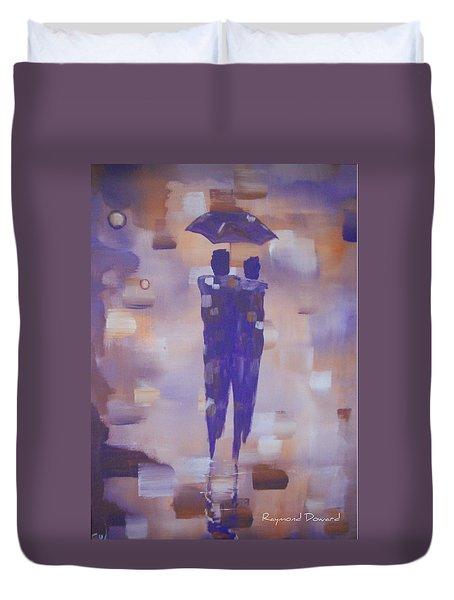 Abstract Walk In The Rain Duvet Cover by Raymond Doward
