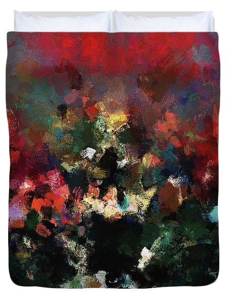 Duvet Cover featuring the painting Abstract Wall Art In Dark Colors by Ayse Deniz