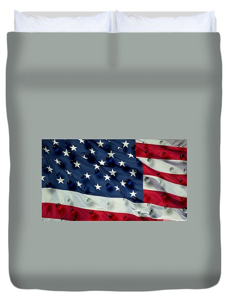 Abstract Water Drops On Usa Flag Duvet Cover by Georgeta Blanaru