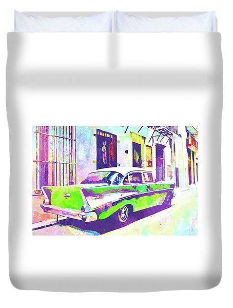 Abstract Watercolor - Havana Cuba Classic Cadillac II Duvet Cover