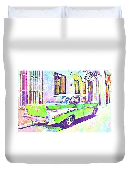Abstract Watercolor - Havana Cuba Classic Cadillac IIi Duvet Cover