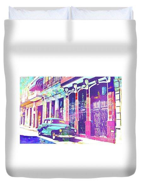 Abstract Watercolor - Havana Cuba Classic Car II Duvet Cover