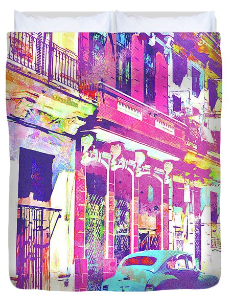 Abstract Watercolor - Havana Cuba Classic Car IIi Duvet Cover