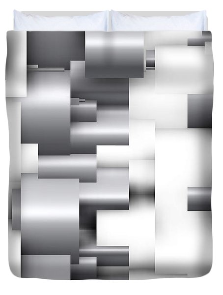 Abstract White And Grey Duvet Cover