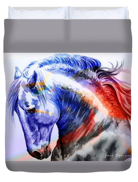 Duvet Cover featuring the painting Abstract White Horse 44 by J- J- Espinoza