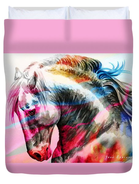 Duvet Cover featuring the painting Abstract White Horse 45 by J- J- Espinoza