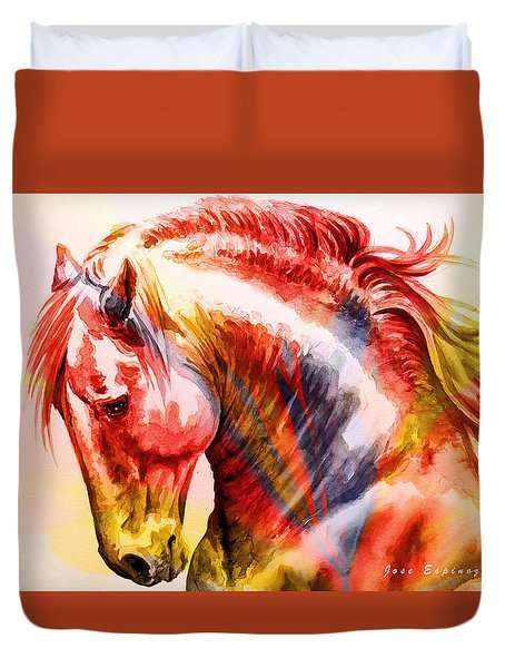 Duvet Cover featuring the painting Abstract White Horse 46 by J- J- Espinoza