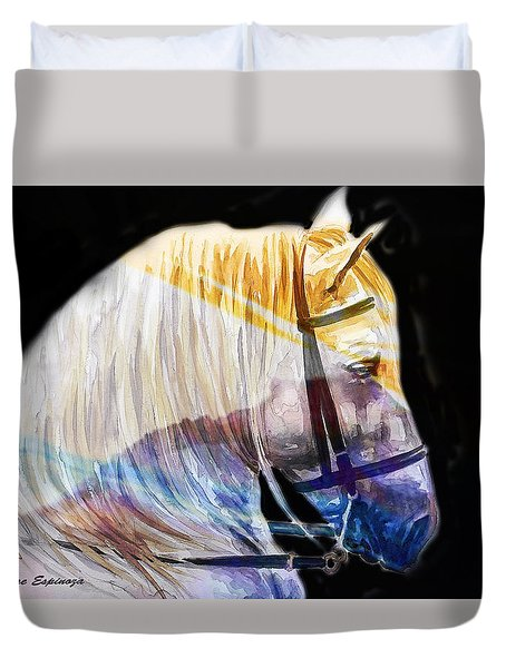 Duvet Cover featuring the painting Abstract White Horse 50 by J- J- Espinoza