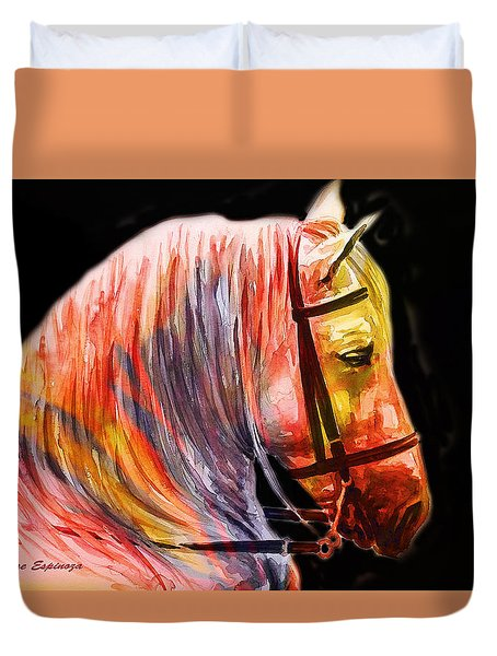 Duvet Cover featuring the painting Abstract White Horse 52 by J- J- Espinoza