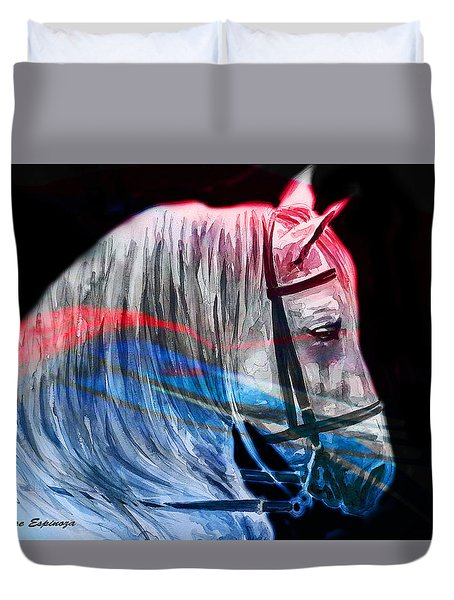 Duvet Cover featuring the painting Abstract White Horse 53 by J- J- Espinoza