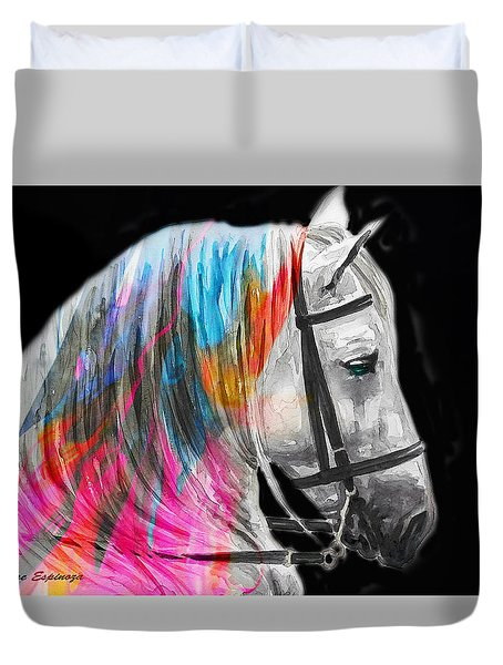Duvet Cover featuring the painting Abstract White Horse 54 by J- J- Espinoza