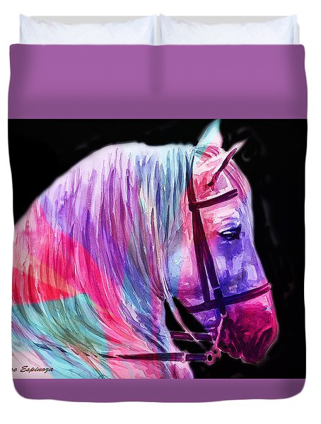 Duvet Cover featuring the painting Abstract White Horse 55 by J- J- Espinoza