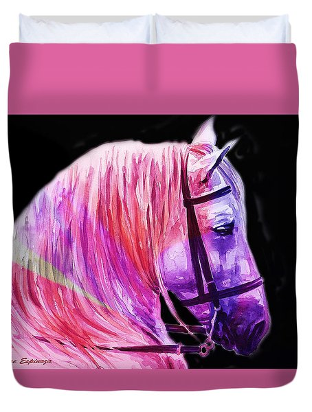 Duvet Cover featuring the painting Abstract White Horse 56 by J- J- Espinoza