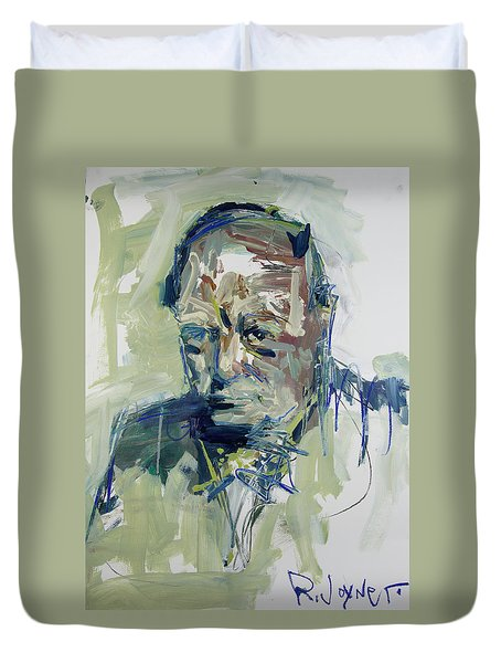 Duvet Cover featuring the painting Abstract Winston Churchill Portrait by Robert Joyner