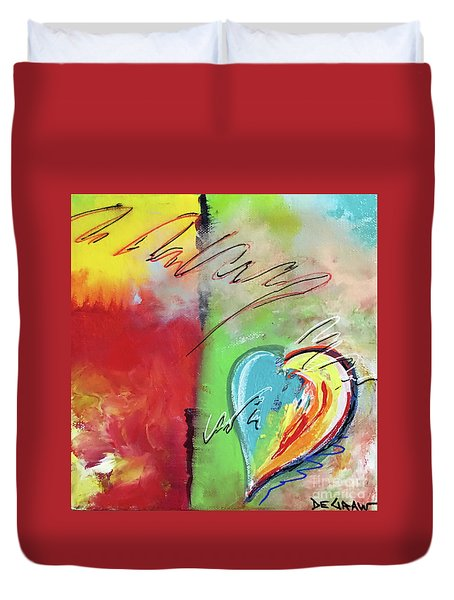 Abstract With Heart Duvet Cover