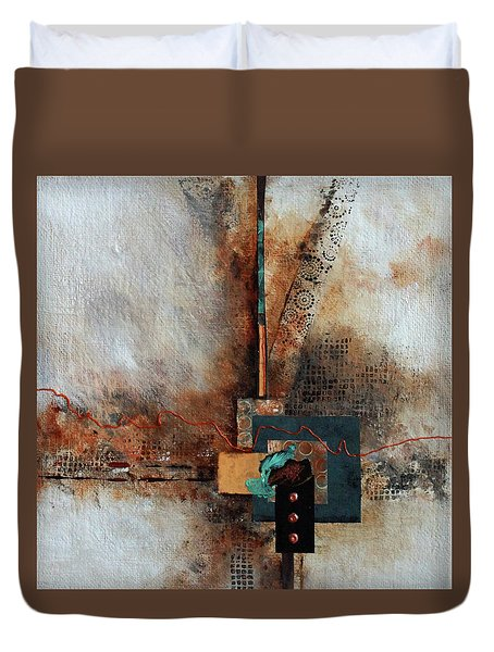 Duvet Cover featuring the painting Abstract With Stud Edge by Joanne Smoley