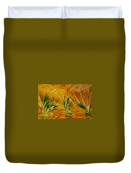 Abstract Yellow, Green Fields   Duvet Cover