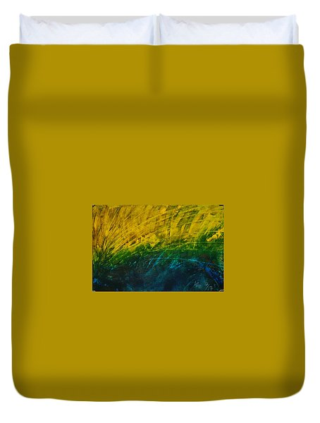 Abstract Yellow, Green With Dark Blue.   Duvet Cover
