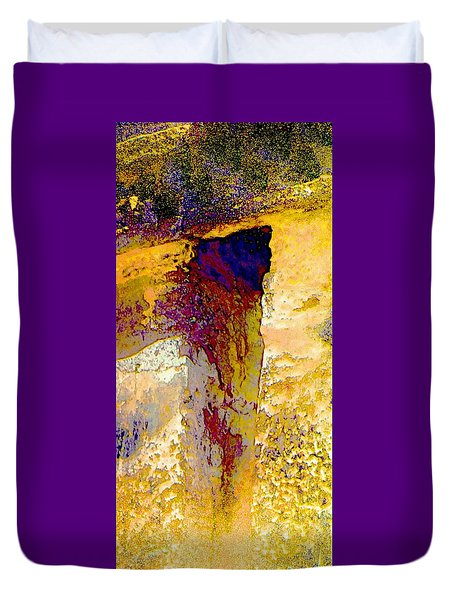 Abstract Yellow Purple Complementary Colors Textured Wall 2a Duvet Cover
