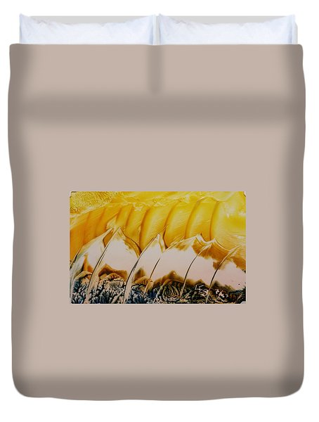 Abstract Yellow, White Waves And Sails Duvet Cover