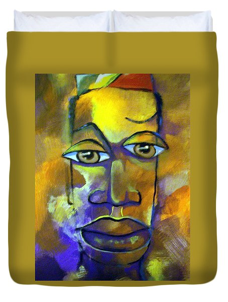 Duvet Cover featuring the painting Abstract Young Man by Raymond Doward