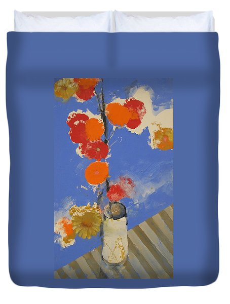 Duvet Cover featuring the painting Abstracted Flowers In Ceramic Vase  by Cliff Spohn