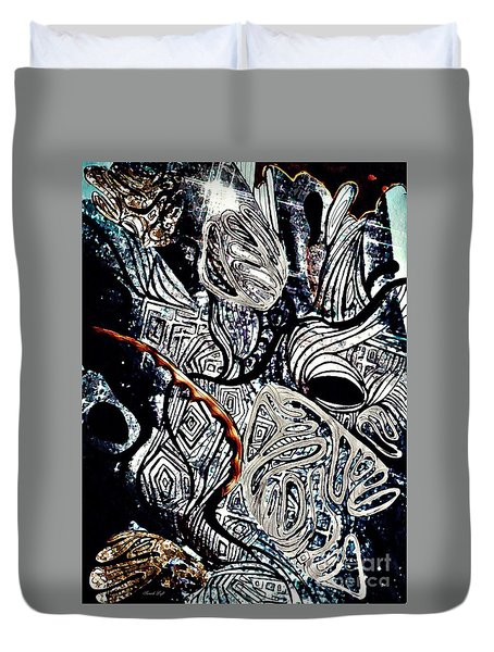Abstraction In Silver Duvet Cover by Sarah Loft