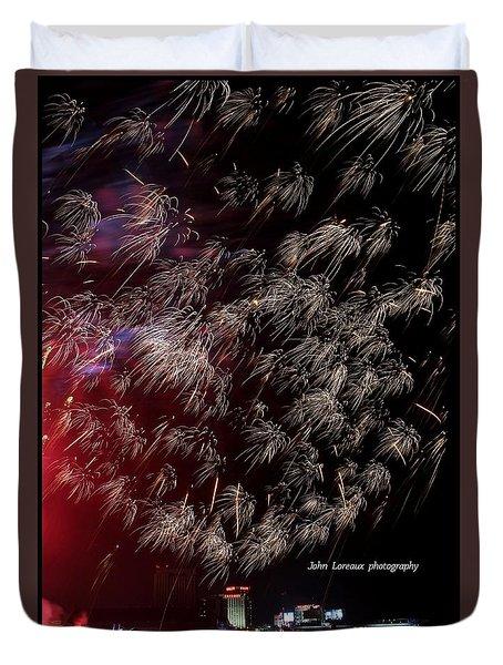 Ac Fireworks 2 Duvet Cover by John Loreaux