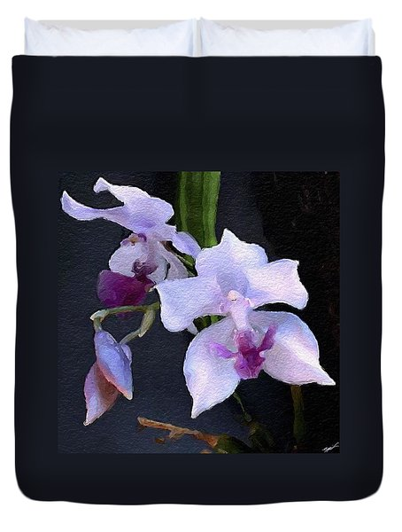 Acacallis Cyanea. Orchid Duvet Cover by Anthony Fishburne
