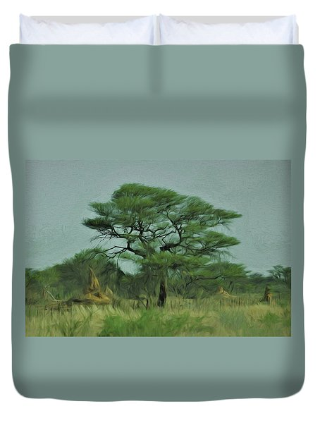 Duvet Cover featuring the digital art Acacia Tree And Termite Hills by Ernie Echols