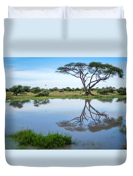 Duvet Cover featuring the photograph Acacia Tree Reflection by Gregory Daley  PPSA