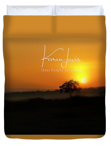 Duvet Cover featuring the photograph Acacia Tree Sunrise by Karen Lewis