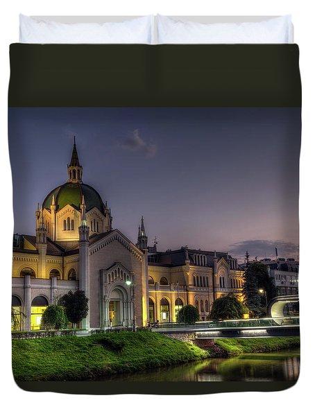 Academy Of Fine Arts, Sarajevo, Bosnia And Herzegovina At The Night Time Duvet Cover by Elenarts - Elena Duvernay photo