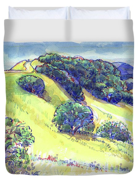 Duvet Cover featuring the painting Acalanes Ridge, Lafayette, Ca by Judith Kunzle