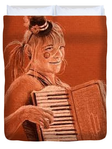 Accordion Girl Duvet Cover by Michael Beckett