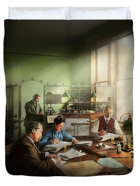 Duvet Cover featuring the photograph Accountant - The- Bookkeeping Dept 1902 by Mike Savad