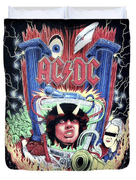 Duvet Cover featuring the digital art Acdc by Gina Dsgn