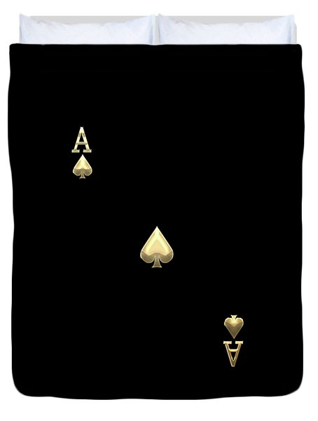 Ace Of Spades In Gold On Black   Duvet Cover