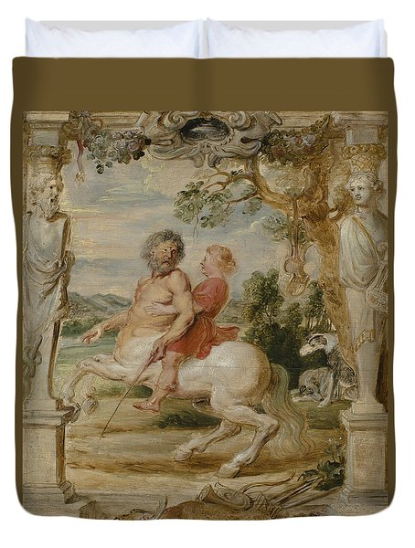 Achilles Educated By The Centaur Chiron Duvet Cover