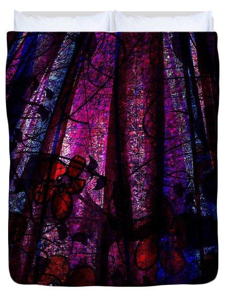 Acid Rain With Red Flowers Duvet Cover by Rachel Christine Nowicki