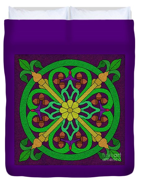 Acorn On Dark Purple 2 Duvet Cover