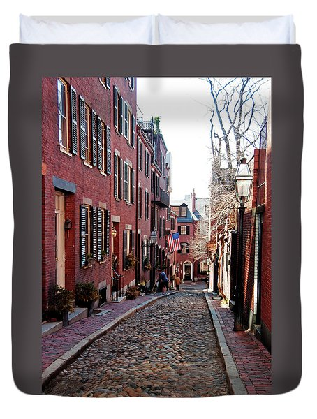 Duvet Cover featuring the photograph Acorn Street Beacon Hill by Wayne Marshall Chase