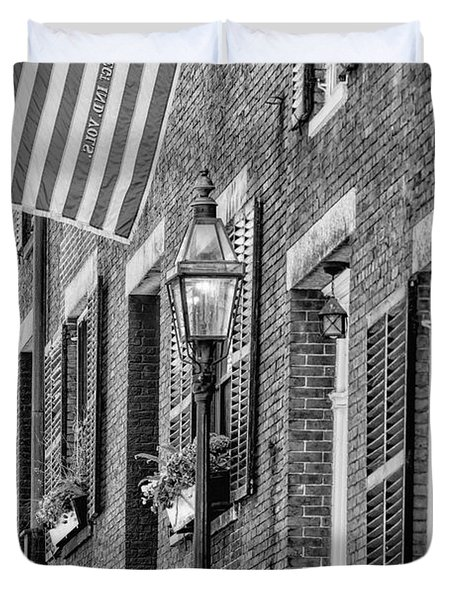 Duvet Cover featuring the photograph Acorn Street Details Bw by Susan Candelario