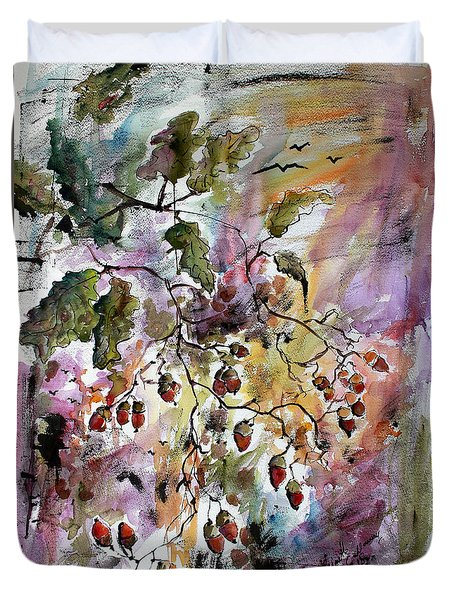 Duvet Cover featuring the painting Acorns Autumn Expression by Ginette Callaway