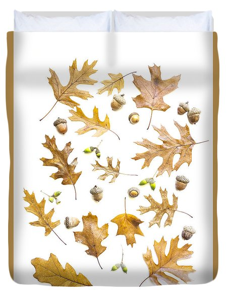 Duvet Cover featuring the photograph Acorns by Elena Nosyreva