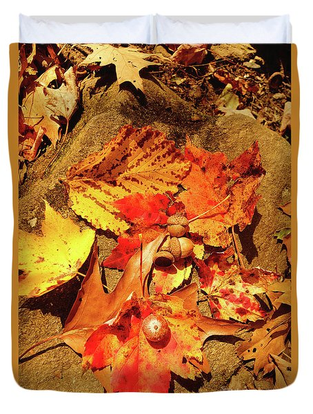 Acorns Fall Maple Leaf Duvet Cover
