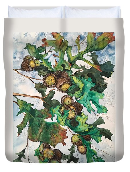 Acorns On An Oak  Duvet Cover